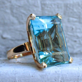 Gorgeous Male Female Blue Finger Ring Luxury Big Crystal Zircon Stone Ring Men Women Yellow Gold Promise Engagement Ring