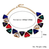 Fashion Jewelry Gold 7 Colors Triangular Glasses Chunky Choker Statement Necklace.