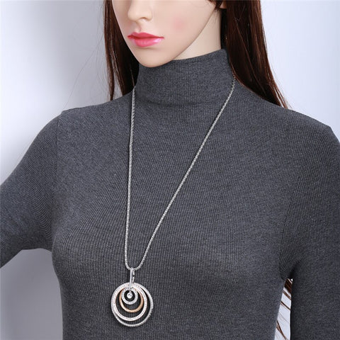 Long Necklace CZ Crystal Gold Silver Colors Women Popcorn Chains Sweater Necklace.