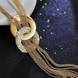 Round Circle Long Tassel Simple Style Shiny Gold Silver Color High Quality Chain Necklaces.