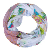 New Fashion Pink Ring Women Scarf Design with Floral Side Infinity Loop Neckerchief Echarpe Foulard Femme Size 180*50cm