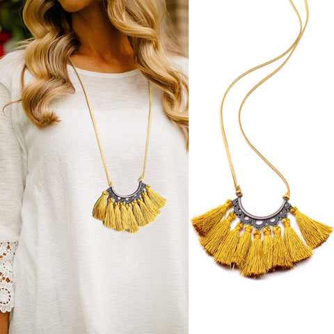 Long Leather Rope Chain Boho Tassel Pendant Necklace.
