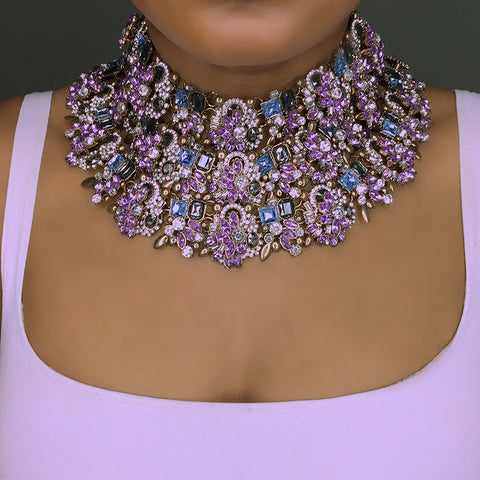 Big Statement Necklace Rhinestone Indian Bridal Jewelry.