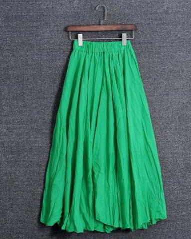 Women Skirt Solid Color Casual Vintage Cotton Linen Long Skirts.