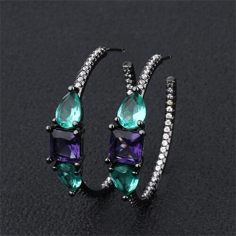 New Trendy Copper Colorful Large  Cubic Zirconia Big Round Fashion jewelry.