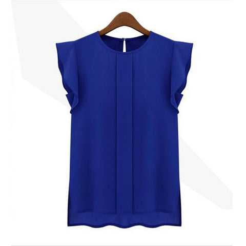 Women Casual Loose Chiffon Short Tulip Sleeve Shirt.