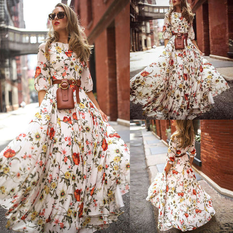 Summer Beach Party Long Sundress Fashion Casual Daily Half Sleeve Not Include Belt.