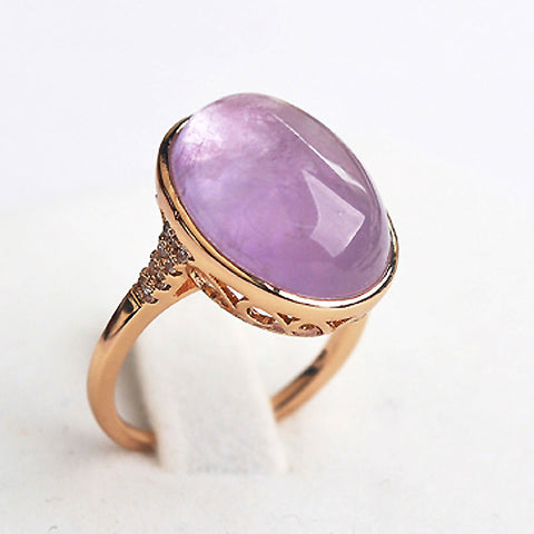 Retro Luxury Natural Stone Rose Gold Color Big Opal Green Purple Stone Ring chrysoprase Rings Women Party Jewelry
