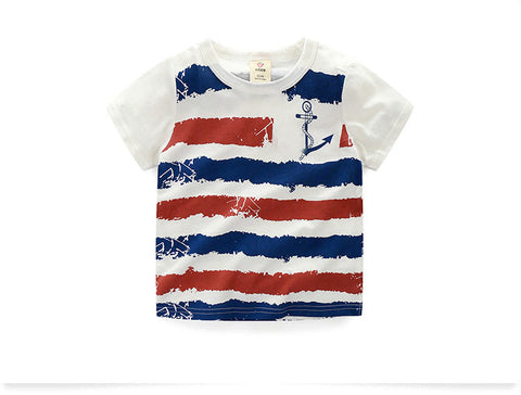 Boys summer t shirt short sleeve striped kids t shirt for boys K-18.