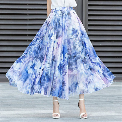Womens fashion new Bohemia chiffon broken flower long skirt.