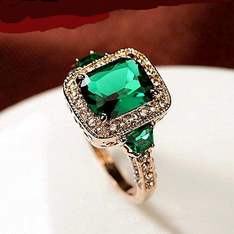 Green Luxury Ring Rose Gold Color Rectangle Crystal Lady Engagement Ring for Women.