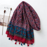 Spain Bohemian Ethnic Viscose Shawl Scarf Women High Quality Print Pashmina scarf.