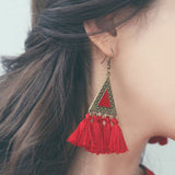 New Bohemian Colorful Tassel Long Fringed Triangle Earring For Women.
