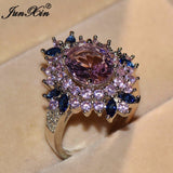 JUNXIN Cute Blue Pink Flower Ring White Gold Color Finger Ring Vintage Wedding Rings For Women Fashion Jewelry