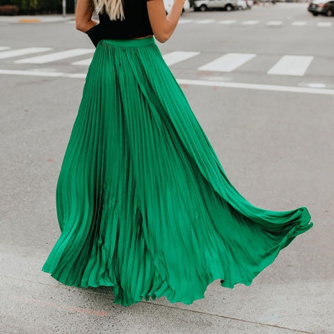 Bohemian New Lady Loose Soild High Waist Length Skirt.