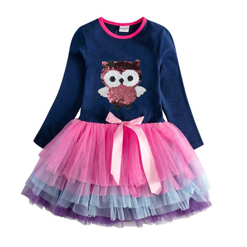 Girls Unicorn Dress Girls Sequined Party Casual Tutu Dress.