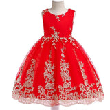Hot Sell 2018 Summer Girl Dress Princess Wedding Dress Girl Embroidered applique  Birthday Dresses Kids Christmas Party Dresses