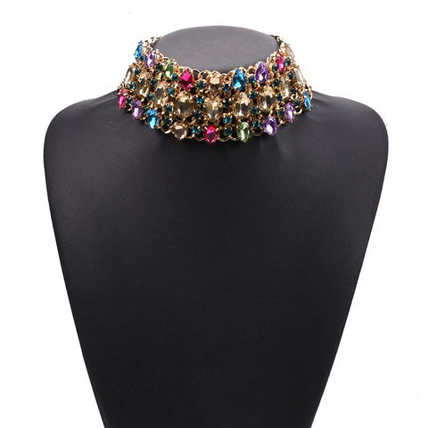 Big Rhinestone Choker Statement Necklace Crystal Luxury Chunky Collar Necklace.