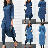 new hotsale Women Fashion Solid Color Pockets Asymmetric Hem Denim Long Shirt Ladies Casual Lapel Buttons High Low Blouse Tops