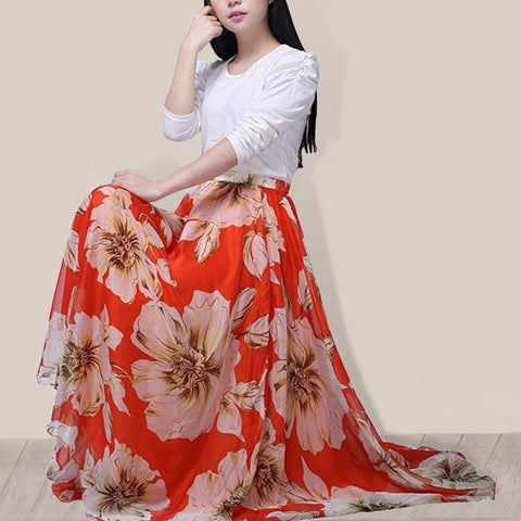 Boho Floral Print Chiffon Skirt For Women.