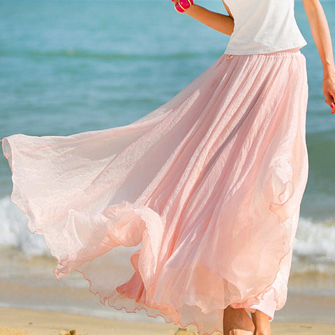 Long Chiffon Solid Elastic Waist Pleated Maxi Vintage Style Skirts.