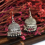 Bead Drop indian Earrings jhumka Antique Silver Ethnic Turkish Jewelry.