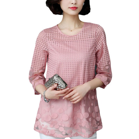 Women Elegant Summer Tops Shirts Loose Chiffon Lace Blouse.