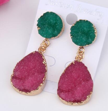 1Pair Fashion Resin Stone Water Drop Earrings For Women Beautiful Gold Color Dangle Earring Jewelry pendientes mujer moda