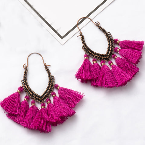 Fringe Vintage Boho Bohemian Ethnic Tassel Drop Dangle Hanging Earrings.