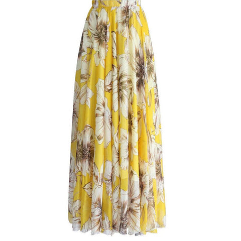 New casual beach party skirt Floral Print Chiffon Long Maxi Skirt.