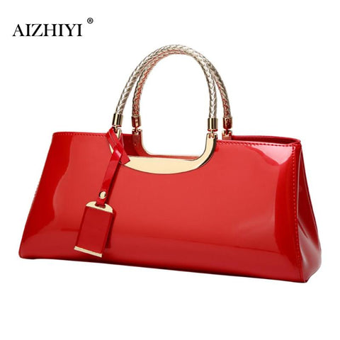 Fashion Women Glossy Patent Clutch Handbag Fashion Casual Shoulder Bag Top-handle Bag Women Handbags Luxury Designer 2019