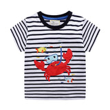 Jumping meters New Fashion Baby Boys Tees Applique Cotton Kids T shirts Animals Stripe Children's Summer Clothes Boys Tops Tees