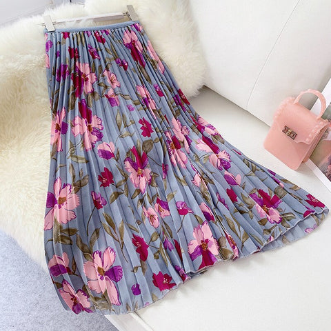 Floral Print Midi Long Skirt Women High Waist Pleated Chiffon Skirt.