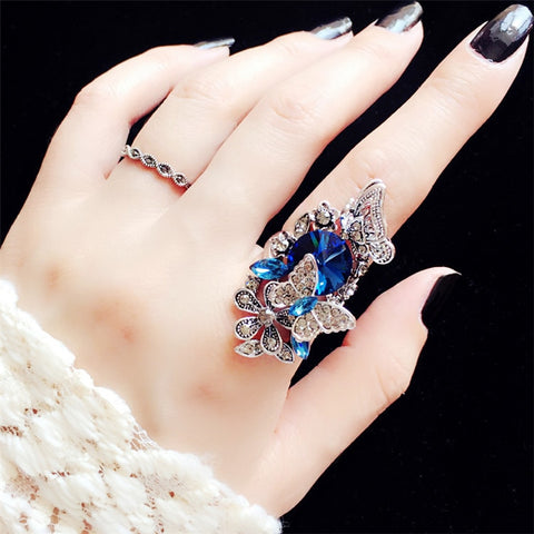 2pcs/set European Index Finger Vintage Big Gem Crystal Butterfly Rings for Women.