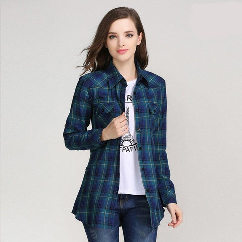 Ladies Casual Cotton Lapel Long-Sleeve Plaid Shirt Slim Outerwear Blouse Tops.