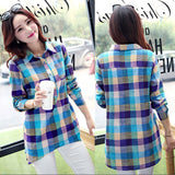 ISHOWTIENDA Women Blouse Casual Matching Color Long Sleeve Button Loose Plaid Shirt Blouse Top  woman summer 2019 Female Blusas