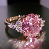 Luxury Princess Oval Pink Stone Rings for Women Jewelry.