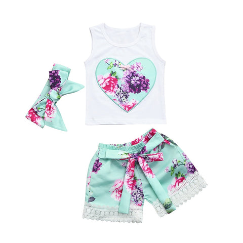 3 PCs Toddler Infant baby girl clothes Floral Vest Tank Tops+Shorts+Headband Outfits.