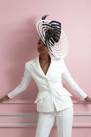 Bespoke black and white ring hat by Felicity Northeast Millinery