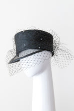 Load image into Gallery viewer, ANNA- Black cap with open weave visor and diamante veiling