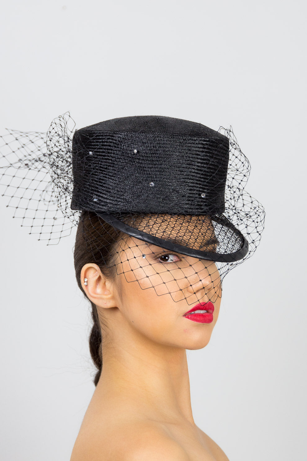 ANNA- Black cap with open weave visor and diamante veiling