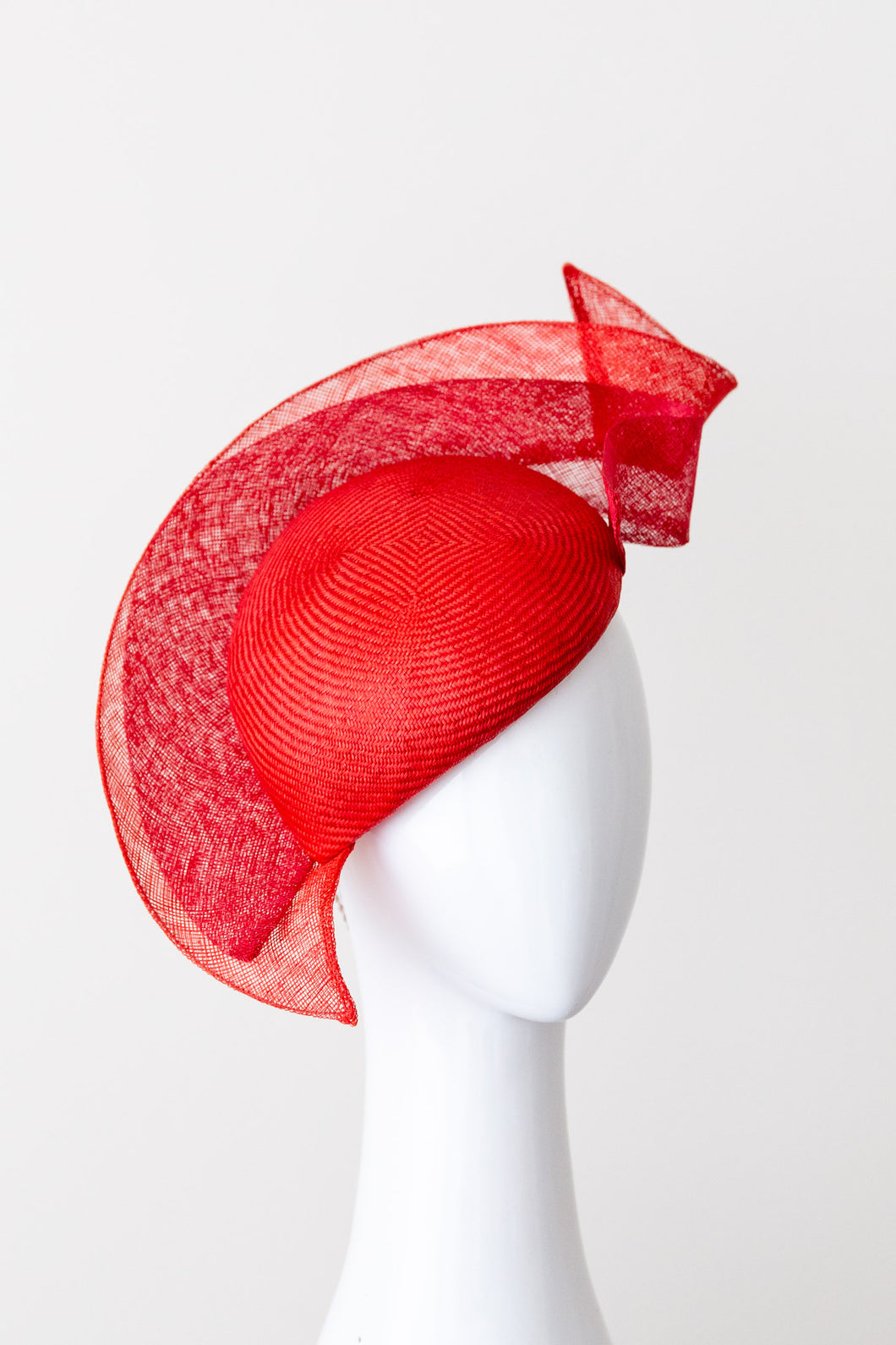 Red straw  tear drop beret hat