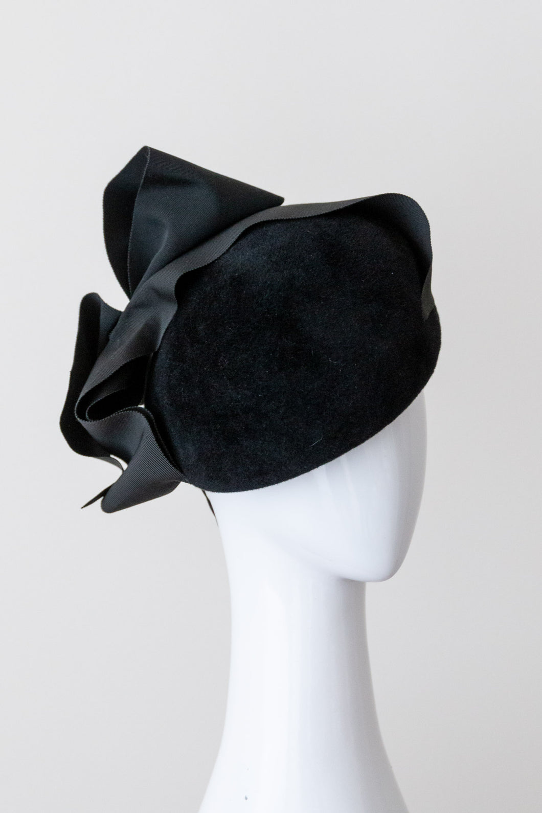 Black Felt Beret with Wide Ribbon Bow by Felicity Northeast  Millinery