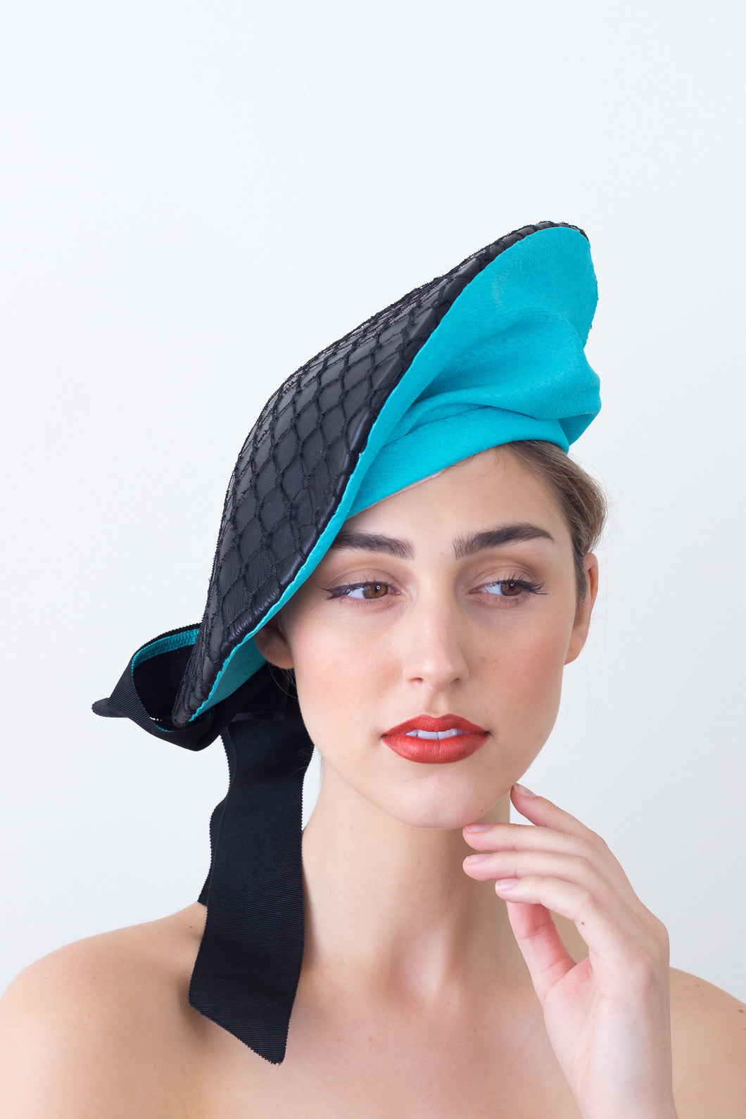 CARAWAY BERET- Statement blue and black leather beret with bow