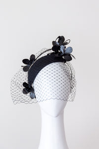 CASSIE- black side teardrop with  flowers and veiling