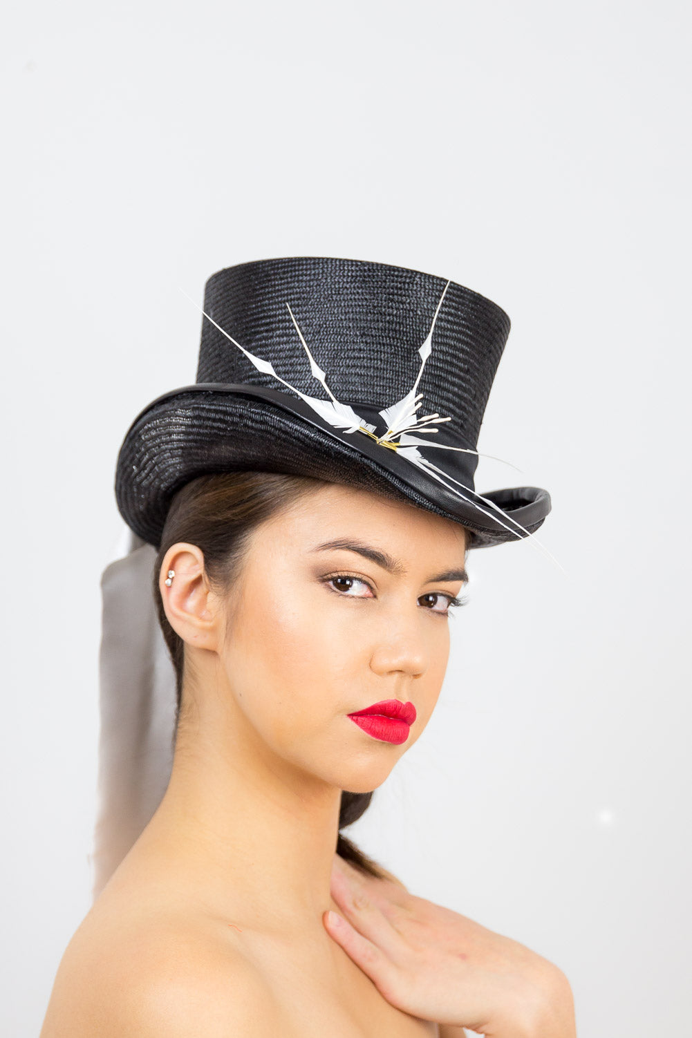 CHARLOTTE- Black tall top hat with white tie and flower