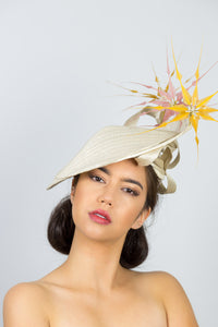 CHLOE-Cream platter hat, with mustard and pink feather flowers