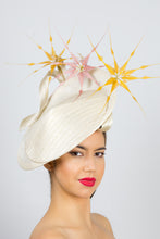 Load image into Gallery viewer,  CHLOE-Cream platter hat, with mustard and pink feather flowers