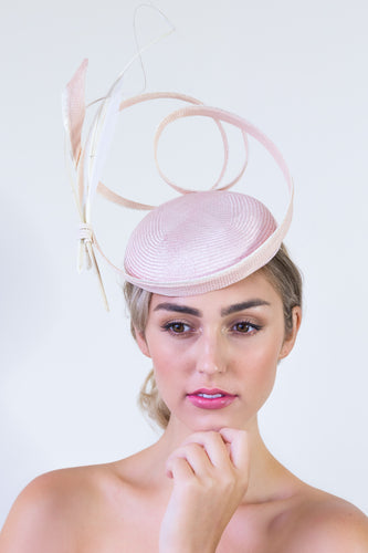 CILANTRO HAT- Pale pink racing or ocassion hat