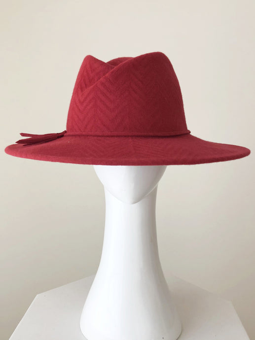 Crimson Red Felt Fedora by Felicity Northeast Millinery